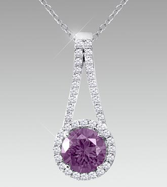 7mm Round-Cut Amethyst & Created White Sapphire Sterling Silver Pendant