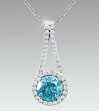 7mm Round-Cut Aquamarine & Created White Sapphire Sterling Silver Pendant