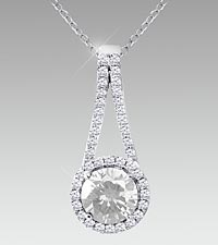7mm Round-Cut Created White Sapphire Sterling Silver Pendant