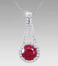 7mm Round-Cut Rhodolite & Created White Sapphire Sterling Silver Pendant