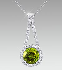 7mm Round-Cut Peridot & Created White Sapphire Sterling Silver Pendant