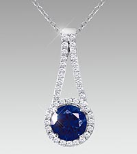 7mm Round-Cut Created Blue Sapphire & Created White Sapphire Sterling Silver Pendant