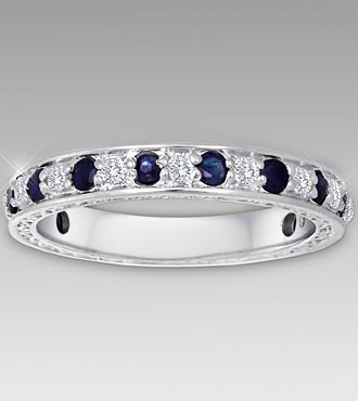 Genuine Sapphire & 0.25 cttw Diamond Sterling Silver Band - Size 7