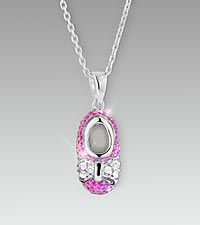 Pink Crystal Baby Girl Bootie Sterling Silver Pendant