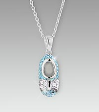 Blue Crystal Baby Boy Bootie Sterling Silver Pendant