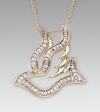 Cubic Zirconia Sterling Silver Dove Pendant