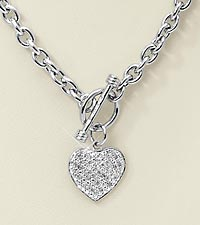 Heart Charm Front Toggle Closure Necklace with Diamond Accents