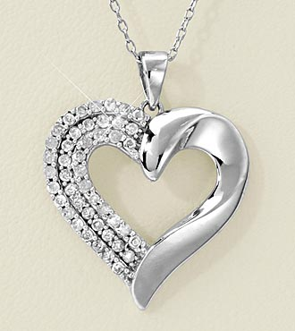 1/2cttw Diamond Sterling Silver Heart Pendant
