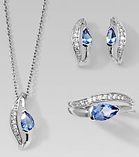 Simulated Tanzanite & CZ Pendant, Earrings, & Ring Set
