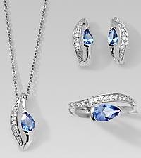 Simulated Tanzanite & CZ Pendant, Earrings, & Ring Set