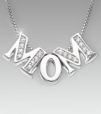 Sterling Silver MOM Pendant with CZ Accent
