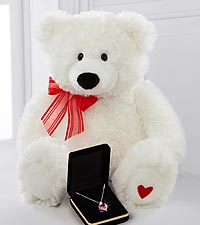 Created Ruby & Created White Sapphire Sterling Silver Pendant with White Plush Bear