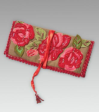 Green Embroidered Rose Jewelry Roll