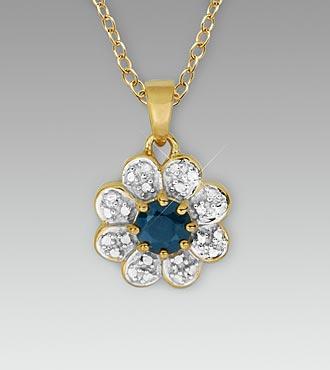 Genune Sapphire & Diamond Accent 18K Gold over Sterling Silver Pendant