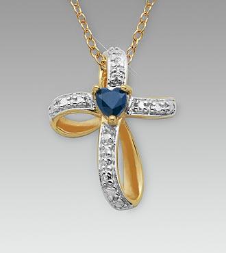 Genuine Sapphire & Diamond Accent 18K Gold over Sterling Silver Cross Pendant