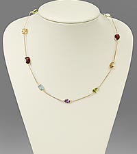 Multi-Gemstone 18-inch Gold over Sterling Silver Necklace