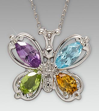Multi-Gemstone Butterfly Sterling Silver Pendant