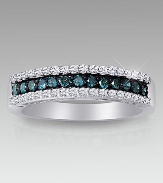 Blue & White Diamond Ring
