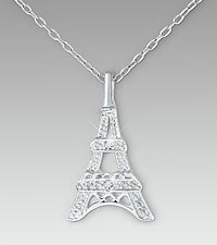 Eiffel Tower Diamond Accent Sterling Silver Pendant