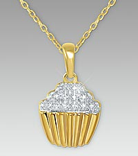 Cupcake Diamond Accent 14K Gold over Sterling Silver Pendant