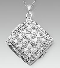 Sterling Silver Diamond-Shaped Locket