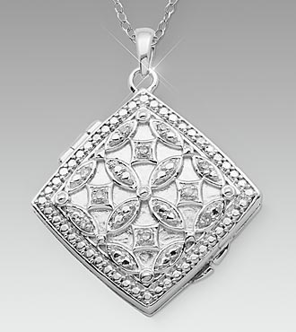 Sterling Silver Diamond-Shaped Locket
