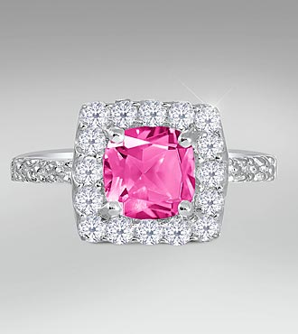 Created White & Created Pink Sapphire Sterling Silver Ring - Size 9