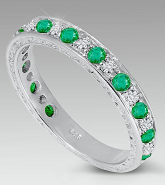 Genuine Emerald & Diamond Band - Size 9