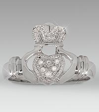 Diamond Accent Claddagh Sterling Silver Ring