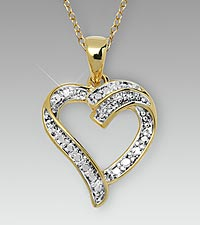 Open Heart Diamond Accent Gold over Sterling Silver Pendant