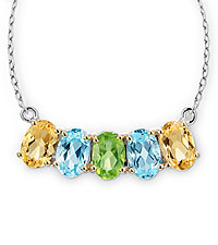 Genuine Citrine, Peridot & Sky Blue Topaz Sterling Siver Necklace