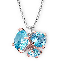 Genuine Sky Blue Topaz & Genuine Swiss Blue Topaz Pendant