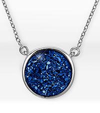 Blue Druzy Sterling Silver Pendant