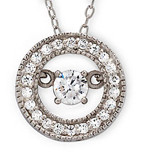 1/2 ct tw White Topaz Circle Pendant