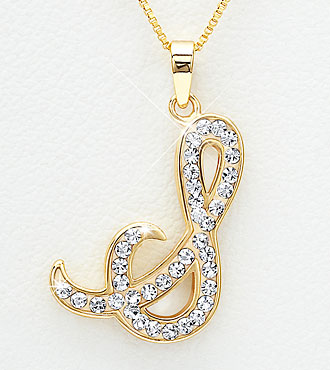 Gold Plated Sterling Silver S Initial Pendant with Crystal Accents