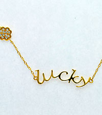 Lucky Gold Plated over Sterling Silver Necklace with CZ Accents