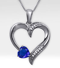 Trillion and Diamond Accent Heart Shaped Sterling Silver Pendant