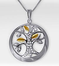 Tree of Life Sterling Silver Pendant with Diamond Accents