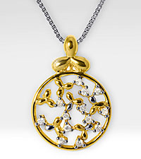Flower Inspired Medallion 14kt Gold over Sterling Silver Pendant with 0.13 cttw Diamond Accents