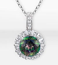 Mystic Topaz Sterling Silver Pendant with Genuine White Topaz Accents