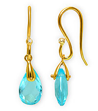 Created Blue Topaz Dangle Earrings