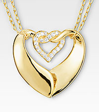 Gold Plated Double Heart Pendant with Cubic Zirconia Accents