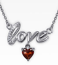 6mm Created Ruby & Diamond Sterling Silver Love Necklace