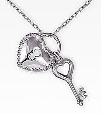 Diamond Accent Key & Heart Sterling Silver Pendant
