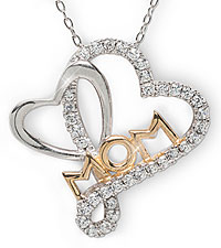 Two-Tone Cubic Zirconia Double Heart Mom Pendant