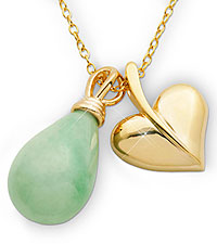 Jade Teardrop Gold Plated Sterling Silver Necklace