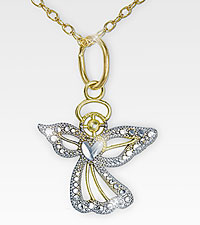 14kt Gold over Sterling Silver Angel Pendant with Diamond Accents
