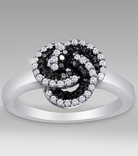 Sterling Silver 0.33cttw Black & White Diamond Ring