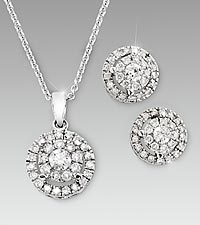 1/2cttw Diamond 14kt White Gold Pendant & Earring Set