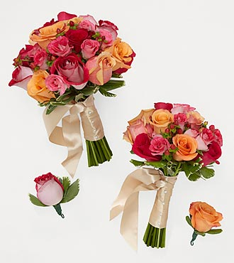 Bright Blush Bride & Maid of Honor Bouquets with Groom & Best Man Boutonniere
